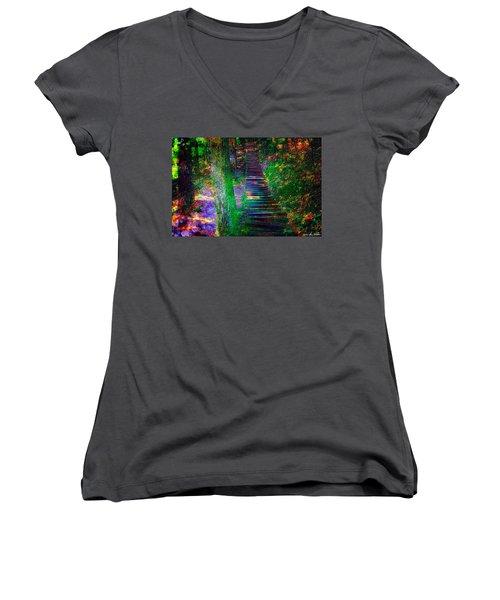 A Trek Women's V-Neck T-Shirt (Junior Cut) by Iowan Stone-Flowers