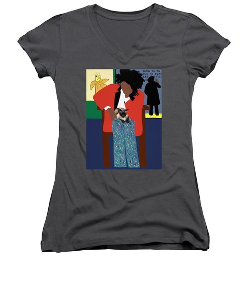 A Tribute To Jean-michel Basquiat Women's V-Neck (Athletic Fit)