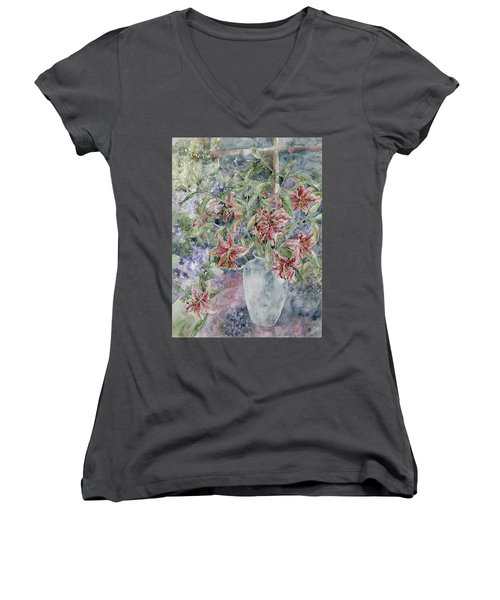 A Vase Of Lilies Women's V-Neck (Athletic Fit)