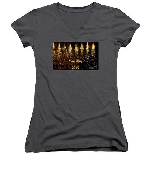 A Very Happy 2017 Women's V-Neck T-Shirt (Junior Cut) by Patricia Hofmeester