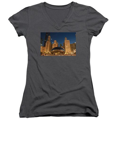 A View From Millenium Park At Night Women's V-Neck