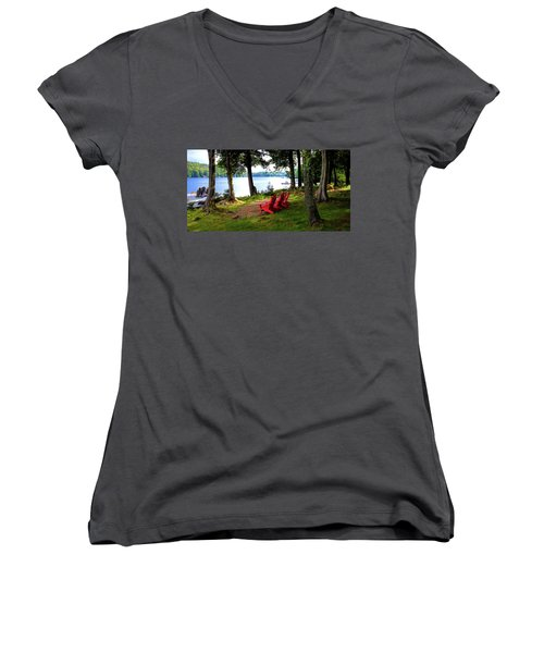 Women's V-Neck T-Shirt featuring the photograph A View Of Big Moose Lake by David Patterson