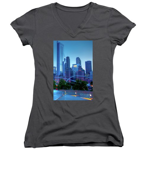 A View Of Millenium Park From The Amoco Bridge In Chicago At Dus Women's V-Neck