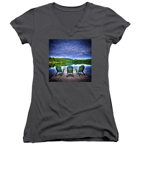 Women's V-Neck T-Shirt (Junior Cut) featuring the photograph A View Of Serenity by David Patterson