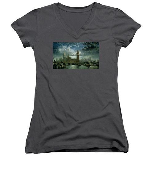 A View Of Westminster Abbey And The Houses Of Parliament Women's V-Neck T-Shirt (Junior Cut) by John MacVicar Anderson