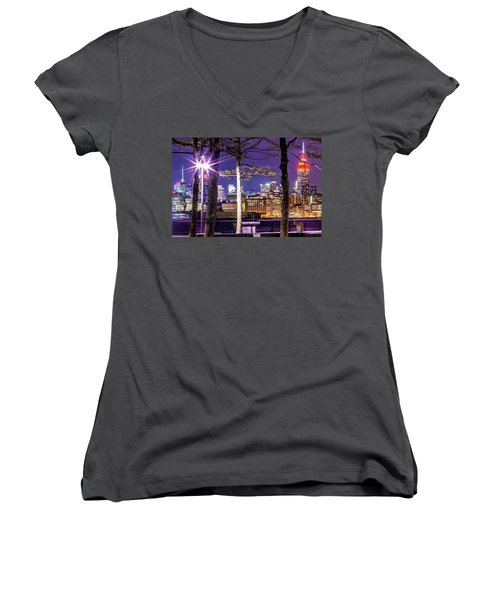 Women's V-Neck T-Shirt (Junior Cut) featuring the photograph A View To Behold by Az Jackson