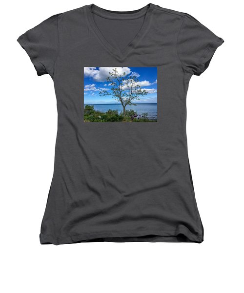 A Walk Along Lake Michigan Women's V-Neck