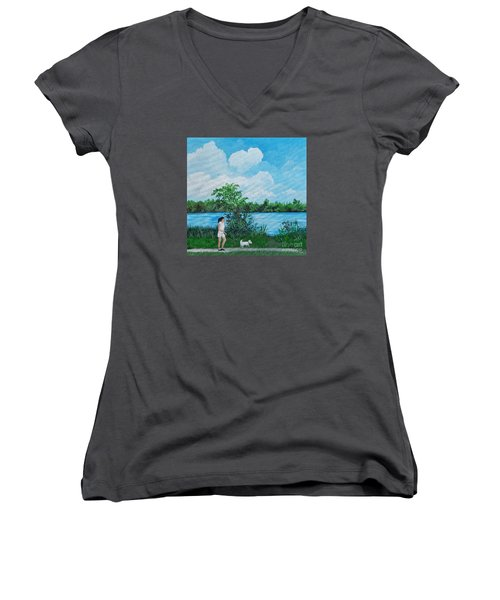 A Walk Along The River Women's V-Neck T-Shirt (Junior Cut) by Reb Frost