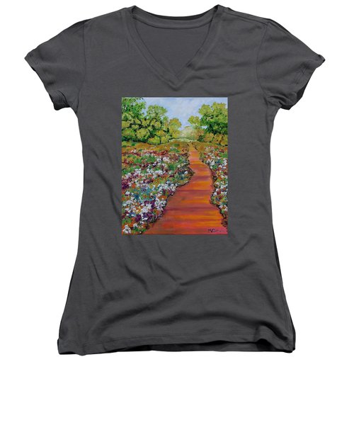 A Walk In The Park Women's V-Neck T-Shirt (Junior Cut) by Mike Caitham