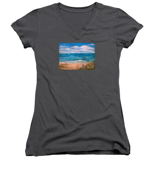 A Walk In The Sand Women's V-Neck T-Shirt