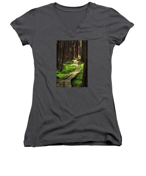 Women's V-Neck T-Shirt (Junior Cut) featuring the photograph A Walk Through The Bog by Robert Clifford