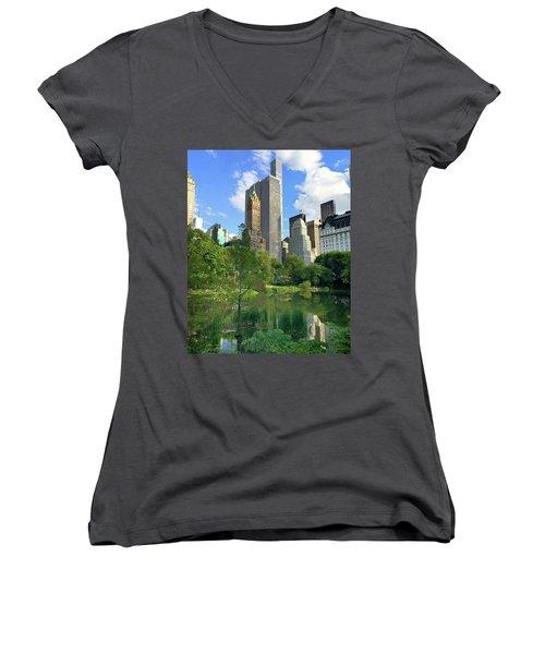 A Walk Thru Central Park Women's V-Neck T-Shirt