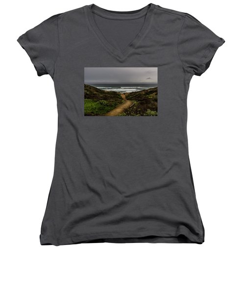 A Walk To The Beach Women's V-Neck (Athletic Fit)