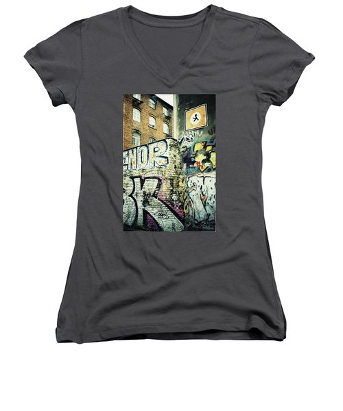 A Wall Of Berlin With Graffiti Women's V-Neck (Athletic Fit)