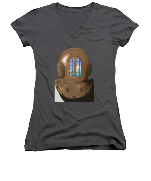 A Wave Inside The Helmet Women's V-Neck T-Shirt (Junior Cut) by Keshava Shukla