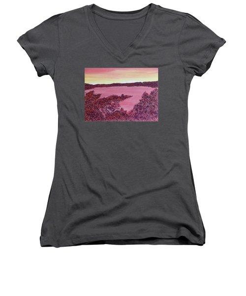 Women's V-Neck T-Shirt featuring the painting A Wee Bit O Heaven  by Joel Deutsch