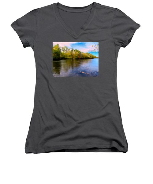 A Wide Scenic View Of Shetucket River. Women's V-Neck