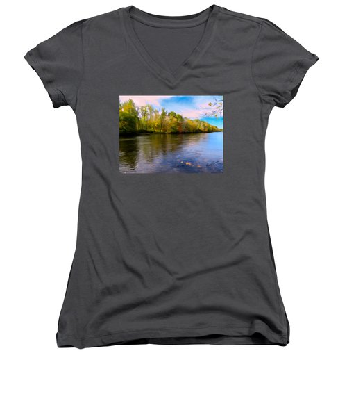 A Wide Scenic View Of Shetucket River. Women's V-Neck (Athletic Fit)