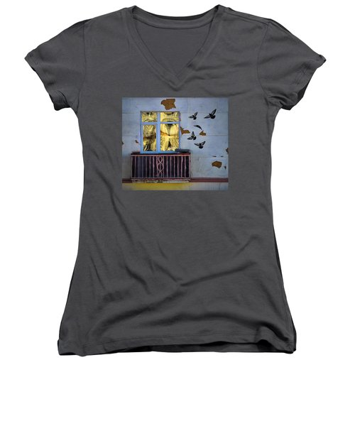 Women's V-Neck T-Shirt (Junior Cut) featuring the photograph A Window by Vladimir Kholostykh