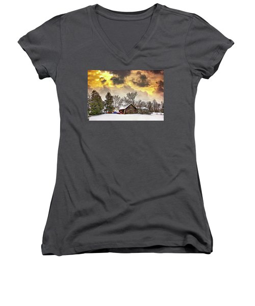 A Winter Sky Women's V-Neck T-Shirt (Junior Cut) by Steve Harrington