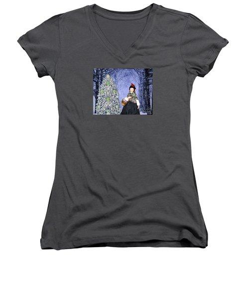 A Winter Walk Women's V-Neck T-Shirt (Junior Cut) by Lyric Lucas