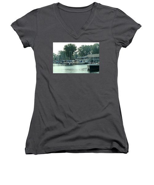 A Yacht Club Women's V-Neck T-Shirt (Junior Cut) by Ian  MacDonald