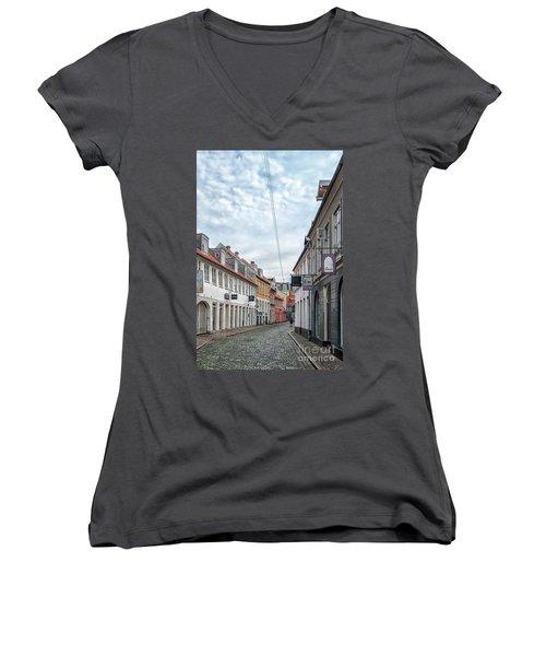Women's V-Neck T-Shirt (Junior Cut) featuring the photograph Aarhus Backstreet Scene by Antony McAulay