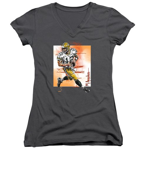 Aaron Rodgers Scrambles Women's V-Neck T-Shirt