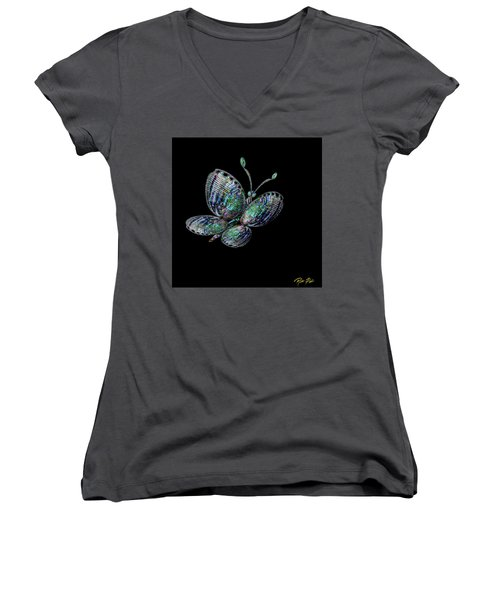Women's V-Neck T-Shirt featuring the photograph Abalonefly by Rikk Flohr