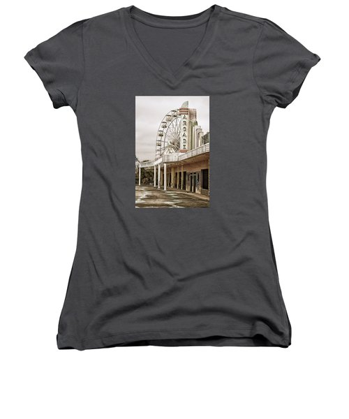 Women's V-Neck T-Shirt (Junior Cut) featuring the photograph Abandoned Arcade And Ferris Wheel by Andy Crawford