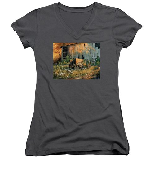 Abandoned Beauty Women's V-Neck T-Shirt (Junior Cut) by Michael Humphries