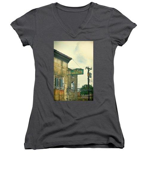 Women's V-Neck T-Shirt (Junior Cut) featuring the photograph Abandoned Building by Jill Battaglia
