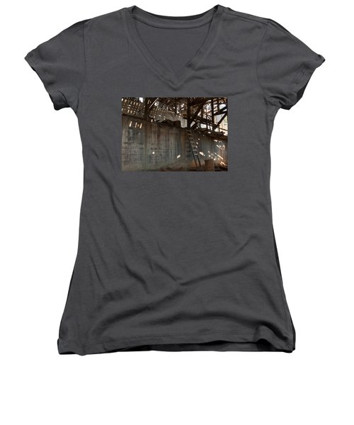 Women's V-Neck T-Shirt (Junior Cut) featuring the photograph Abandoned by Fran Riley