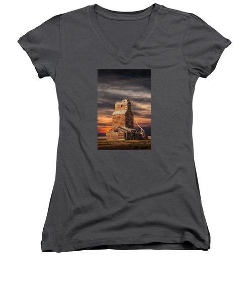 Abandoned Grain Elevator On The Prairie Women's V-Neck T-Shirt (Junior Cut) by Randall Nyhof