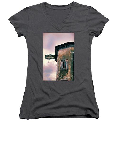 Abandoned Hotel Women's V-Neck T-Shirt (Junior Cut) by Jill Battaglia