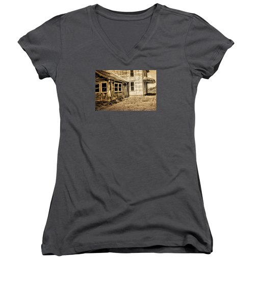 Abandoned House 2 Women's V-Neck T-Shirt (Junior Cut) by Bonnie Bruno