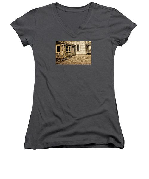 Abandoned House 3 Women's V-Neck T-Shirt (Junior Cut) by Bonnie Bruno