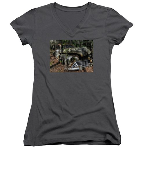 Women's V-Neck T-Shirt (Junior Cut) featuring the photograph Abandoned In Helvetia by Trey Foerster