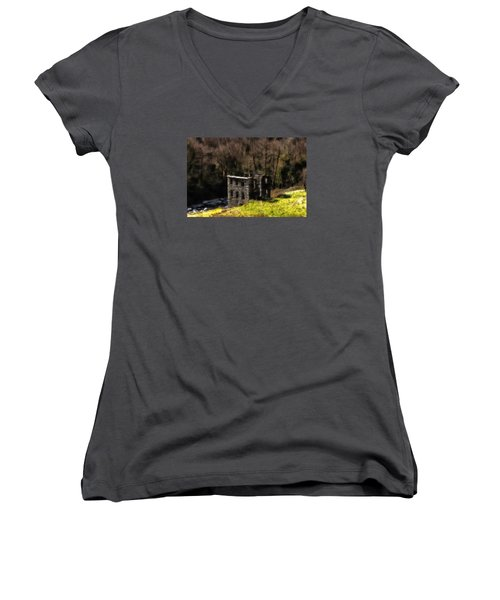 Abandoned Mill What Remains ... Women's V-Neck