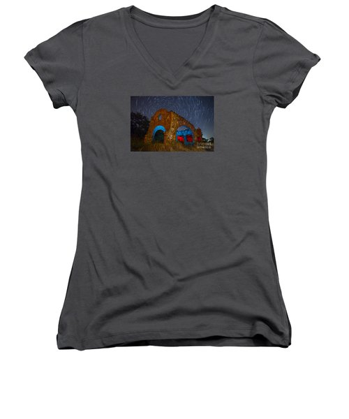 Women's V-Neck T-Shirt (Junior Cut) featuring the photograph Abandoned Outlaw Gas Station by Keith Kapple