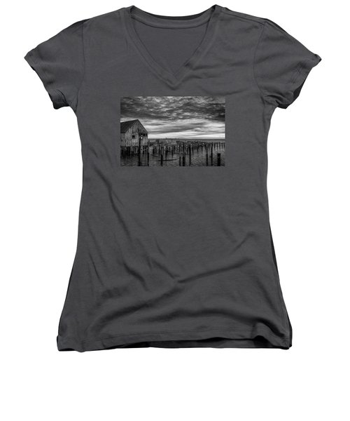Abandoned Pier Women's V-Neck T-Shirt (Junior Cut) by David Cote