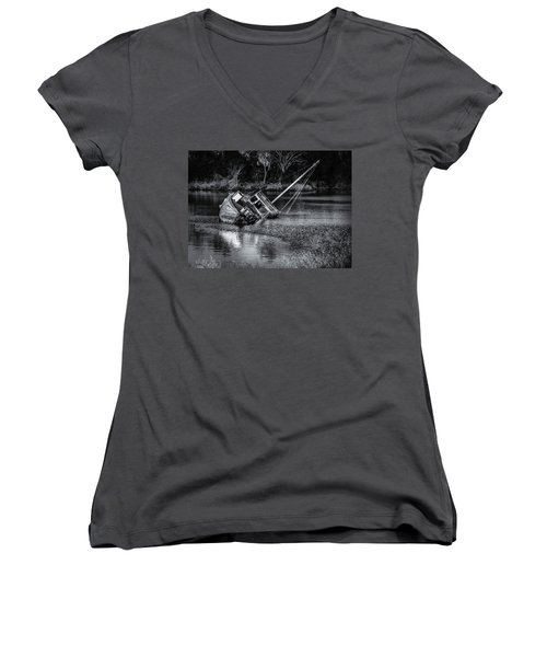 Abandoned Ship In Monochrome Women's V-Neck T-Shirt (Junior Cut)
