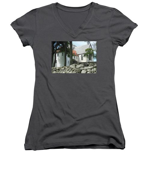 Abbey Exterior #2 Women's V-Neck (Athletic Fit)
