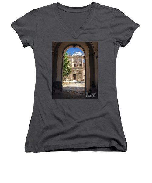 Abbey Of The Holy Spirit At Morrone In Sulmona, Italy Women's V-Neck