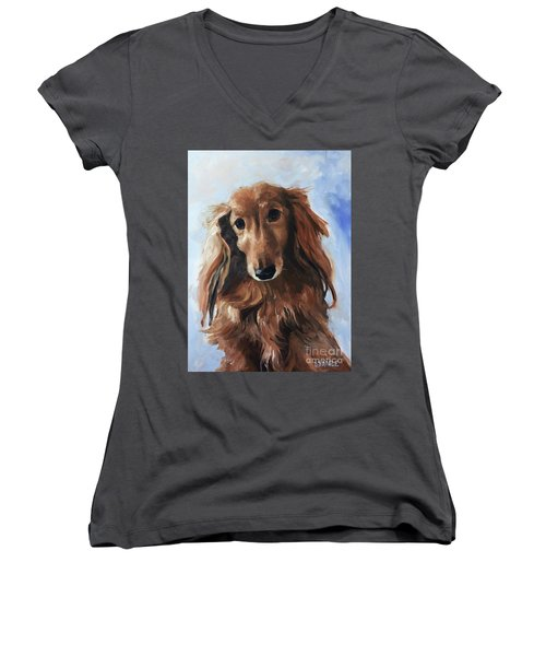 Women's V-Neck T-Shirt (Junior Cut) featuring the painting Abby by Diane Daigle