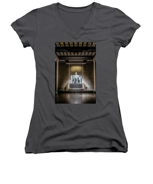 Abe Lincoln Under His Night Lights  Women's V-Neck