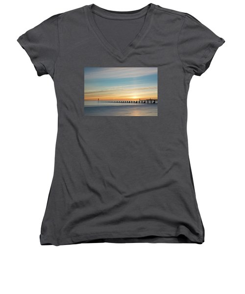 Aberdeen Beach Sunrise Women's V-Neck (Athletic Fit)