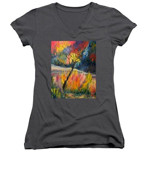 Ablaze Women's V-Neck T-Shirt (Junior Cut) by Renate Nadi Wesley