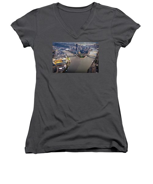 Above Pittsburgh In  Color  Women's V-Neck