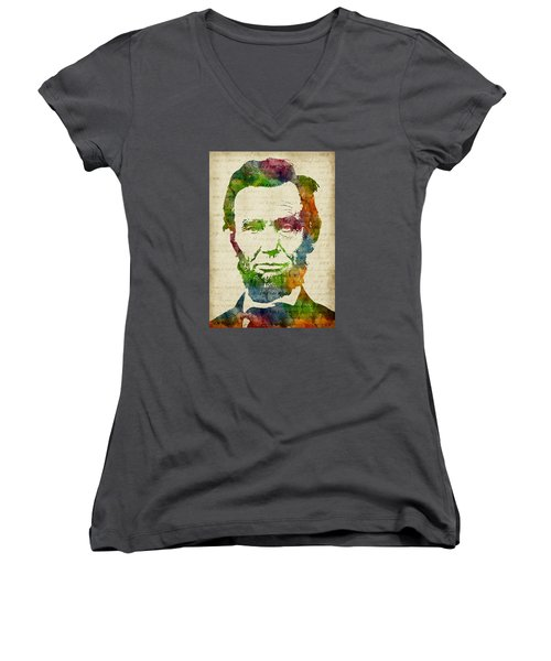 Abraham Lincoln Watercolor Women's V-Neck T-Shirt